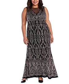 R&M Richards Plus Size Embellished Glitter Gown