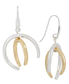 Two-Tone Sculptural Curve Drop Earrings