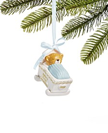 Baby's First Christmas 2020,  Bear in a Blue-Top Cradle Ornament, Created for Macy's