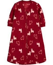 Baby Girls Llama-Print Fleece Sleep Bag