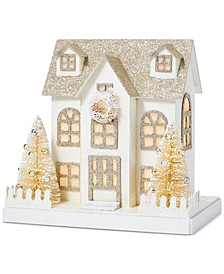 Gilded Age Glittered Paper House Decoration with LED, Created for Macy's