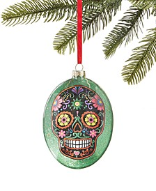 Day of the Dead Oval Glass with Skull Decoration Ornament, Created for Macy's