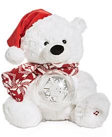 Animated Musical Plush Polar Bear with LED Light-Up Snow Globe, Created for Macy's