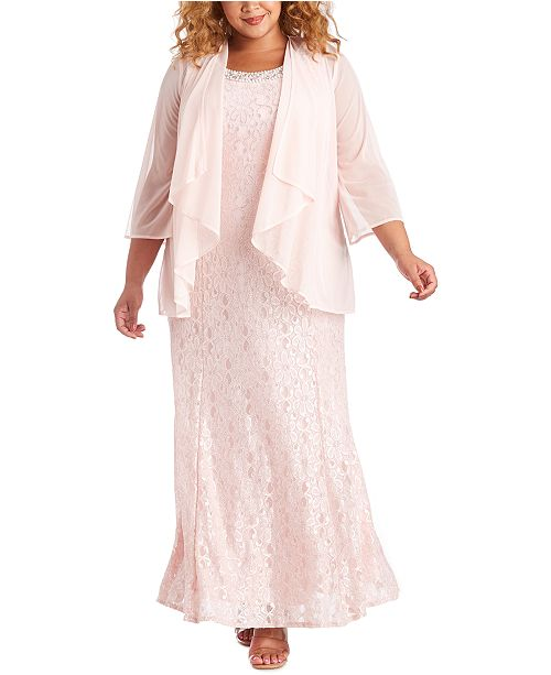 R & M Richards Plus Size Gown & Sheer Overlay