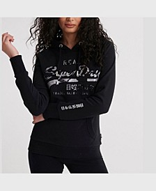 Women's Vintage-Like Logo Photo Rose Loopback Hoodie