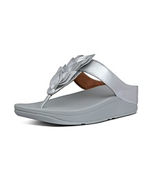 Women's Fino Leaf Metallic Leather Toe-Thongs Sandal
