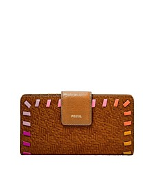 Women's Logan Tab Clutch Vintage-Like Saddle Woven Emboss with Bright Piping