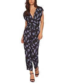 Printed Faux-Wrap Jumpsuit