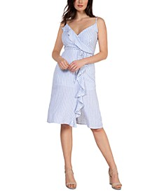 Striped Ruffled Faux-Wrap Dress