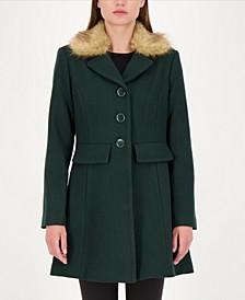 Faux-Fur Trim Walker Coat, Created for Macy's