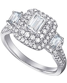 Diamond Emerald-Cut Three Stone Halo Engagement Ring (1-1/2 ct. t.w.) in 14k Gold