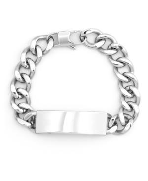 Men's Silver Tone Stainless Steel Curb Link Id Bracelet