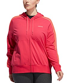 Plus Size Full-Zip Jersey Hooded Jacket