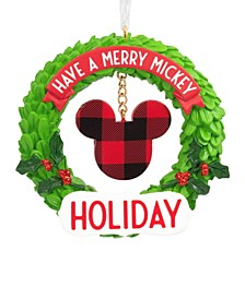 Disney Merry Mickey Icon Wreath Christmas Ornament