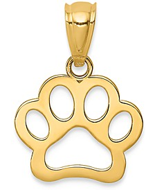 Paw Print Openwork Charm Pendant in 14k Yellow Gold