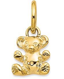 Teddy Bear Charm Pendant in 14k Yellow Gold