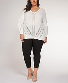 Plus Size Pointelle-Pattern Sweater