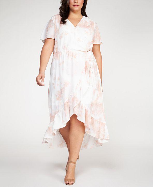 Black Tape Plus Size Floral Print Ruffle Wrap Dress