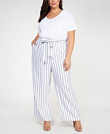 Plus Size Striped Belted Pants
