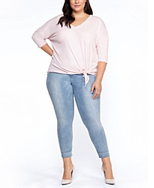 Plus Size Knot-Hem Top