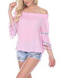 Women's Smocked Neckline Peasant Top with Pom Pom Trim