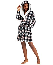 Hooded Buffalo Check Short Cozy Robe, Created for Macy's