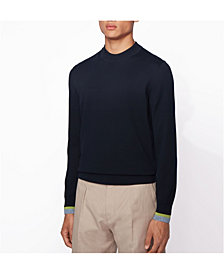 BOSS Men's Ifeo Cotton Sweater with Striped Cuffs
