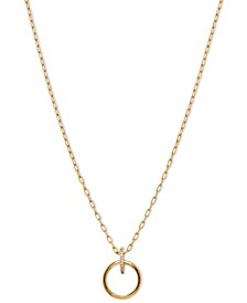 """18k Gold-Plated Cubic Zirconia Ring Pendant Necklace, 16"""" + 1"""" extender"""