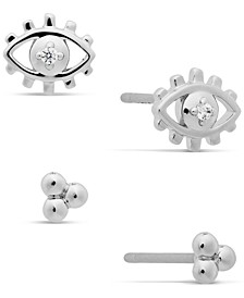 Silver-Tone 2-Pc. Set Cubic Zirconia Evil Eye Stud Earrings