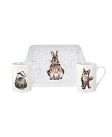 3 Piece Mug and Melamine Tray Set - Woodland Friends