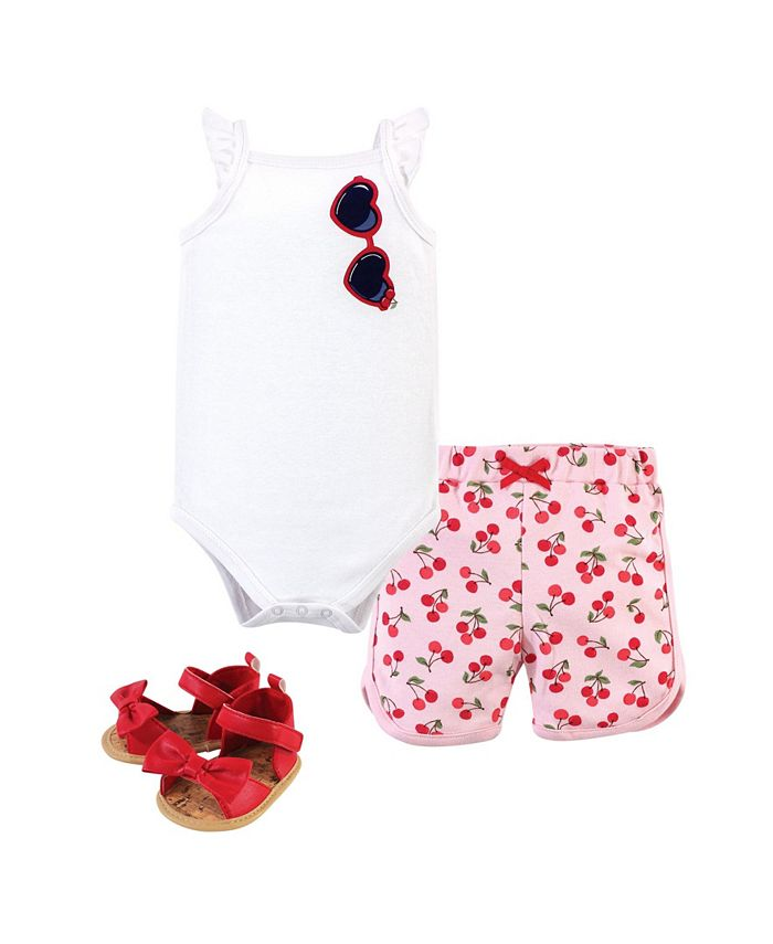 Little Treasure - Baby Boys and Girls Cotton Bodysuit, Pant and Shoe Set