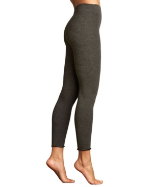 Ribbed Plush Leggings With Roll Cuff