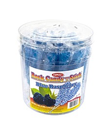 Royal Blue Raspberry-Flavored Rock Candy Sticks, 36 Count