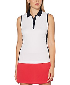 Colorblocked Sleeveless Golf Polo