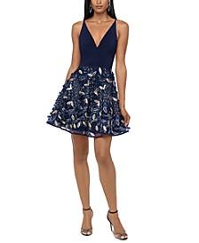 Embellished-Skirt Fit & Flare Dress