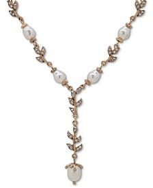 "Gold-Tone Pavé & Imitation Pearl Lariat Necklace, 16"" + 3"" extender"