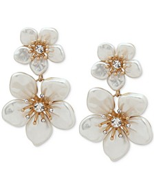 Gold-Tone Pavé & Mother-of-Pearl Double Flower Drop Earrings