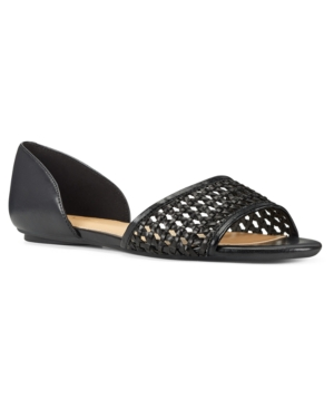 Nine West Bey Woven Open Toe Flats Women s Shoes E569