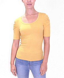 Juniors' Puff-Sleeve Ribbed-Knit Top