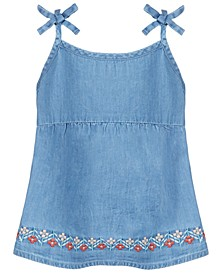 Toddler Girls Floral Embroidered  Denim Top, Created for Macy's