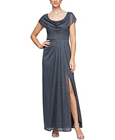 Petite Cowlneck Glitter Gown