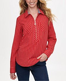 Striped Zip-Up Popover Top