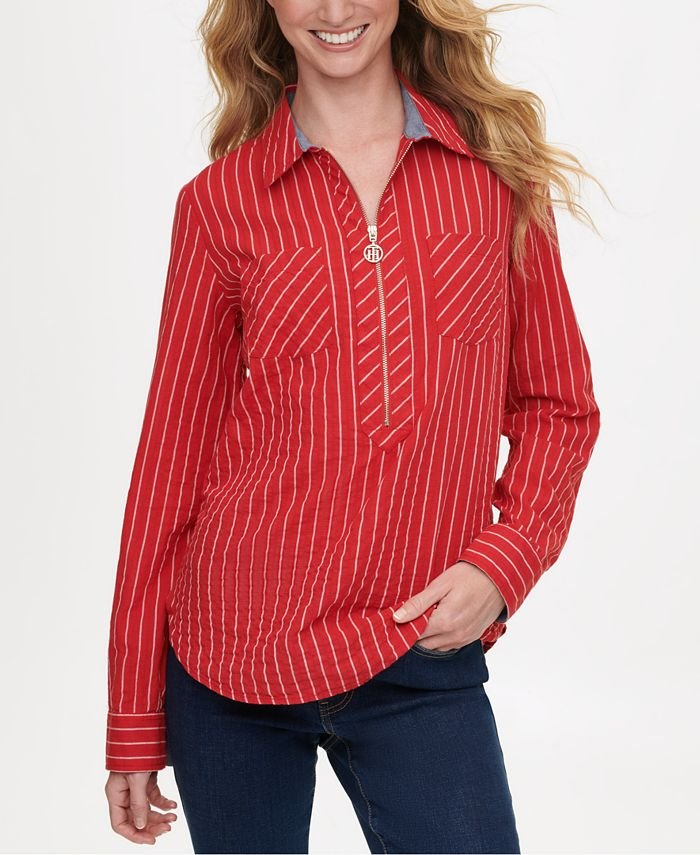 Tommy Hilfiger - Striped Zip-Up Popover Top