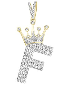 Men's Diamond (3/8 ct.t.w.) Crowned Initial Pendant in 10k Yellow Gold