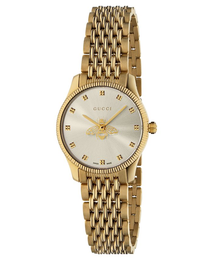 Gucci - Women's Swiss G-Timeless Slim Gold-Tone PVD Stainless Steel Bracelet Watch 29mm