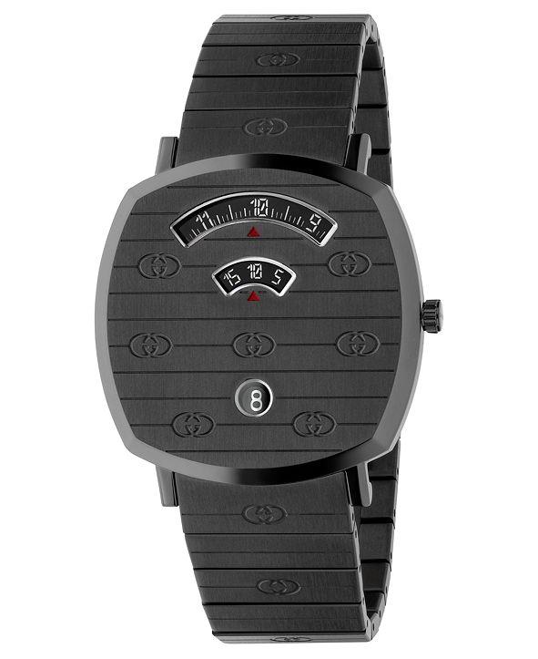 Gucci Unisex Swiss Grip Gray PVD Stainless Steel Bracelet Watch 38mm