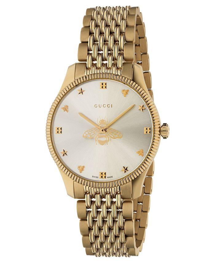 Gucci - Women's Swiss G-Timeless Slim Gold-Tone PVD Stainless Steel Bracelet Watch 36mm