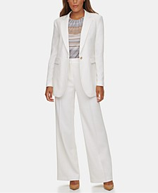 One-Button Jacket, Printed V-Neck Top & Twill Straight-Leg Pants