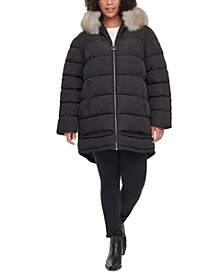Plus Size Faux-Fur-Trim Hooded Water-Resistant Puffer Coat