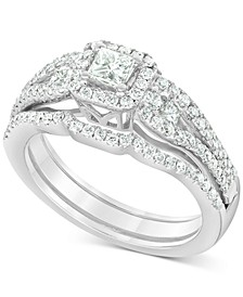 Diamond (1 ct. t.w.) Princess Bridal Set in 14K White Gold